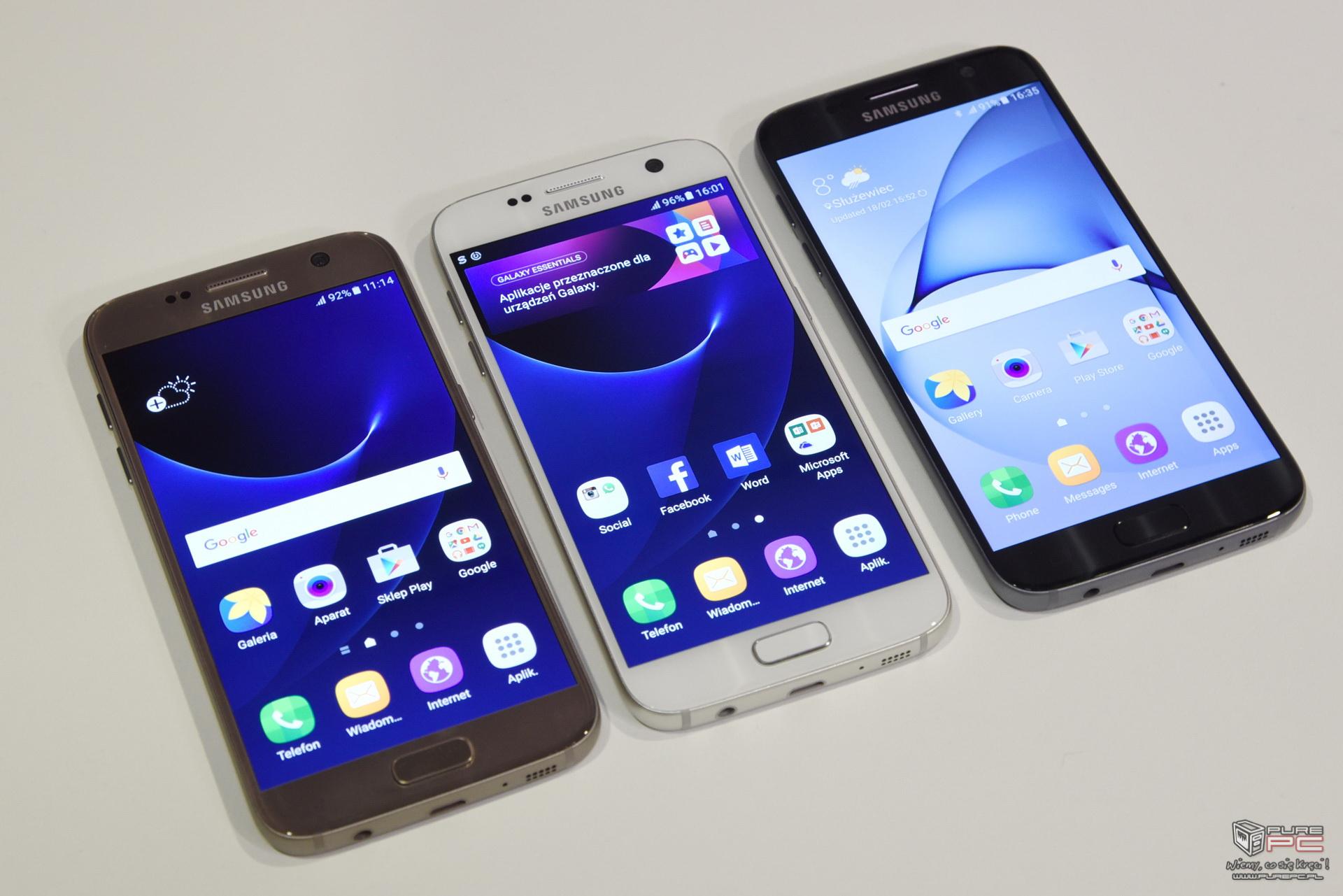 Galaxy S7 i Galaxy S7 Edge wydają się bardziej matowe od swoich poprzednik³w prawdopodobnie zastosowano mikroteksturę pod szkłem kt³ra mniej odbija