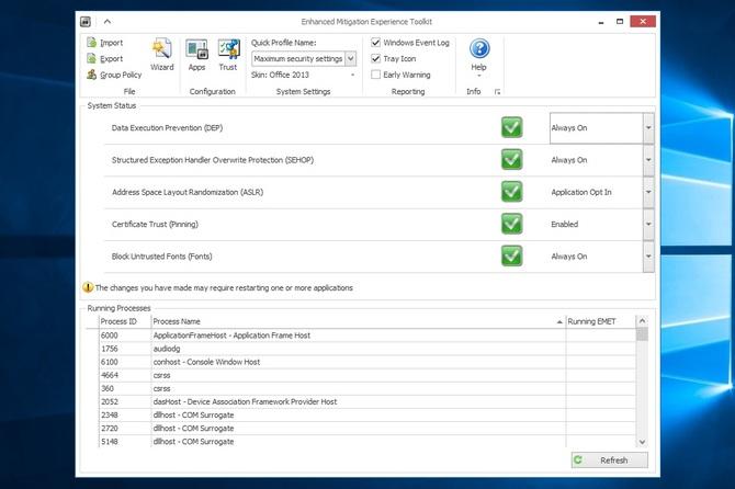 EMET 5.5 na Windows 10