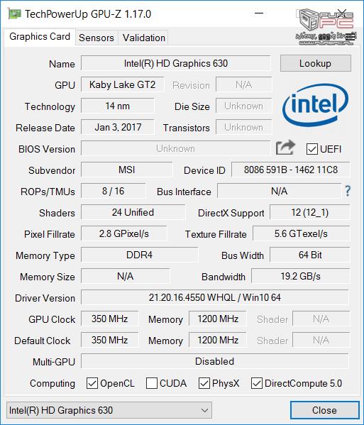 Test GeForce GTX 1050 2GB vs GTX 1050 4GB w laptopach MSI [60]