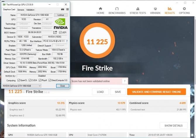 GeForce GTX 1060 - pierwsze wyniki wydajności w 3DMark [2]