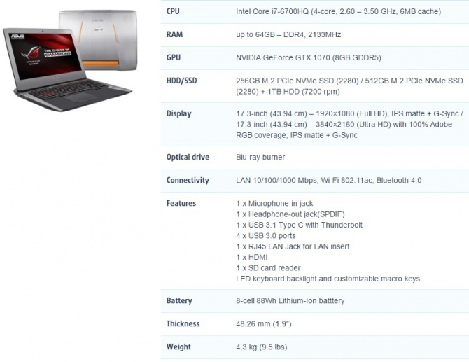 ASUS wprowadza laptopa ROG G752VS z GeForce GTX 1070 [1]