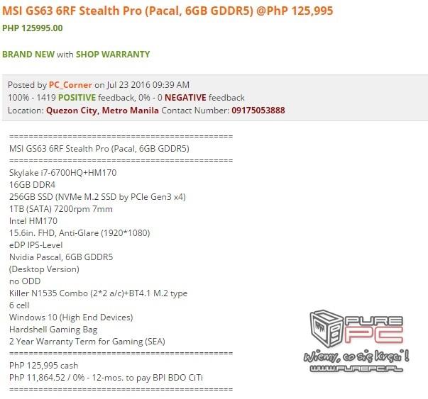 Notebooki MSI wyposażone w karty NVIDIA GeForce GTX 10x0 [1]