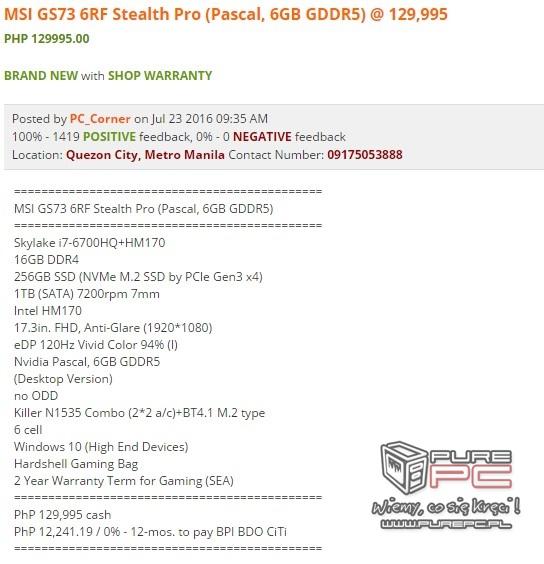 Notebooki MSI wyposażone w karty NVIDIA GeForce GTX 10x0 [4]