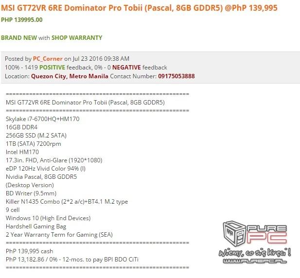Notebooki MSI wyposażone w karty NVIDIA GeForce GTX 10x0 [6]