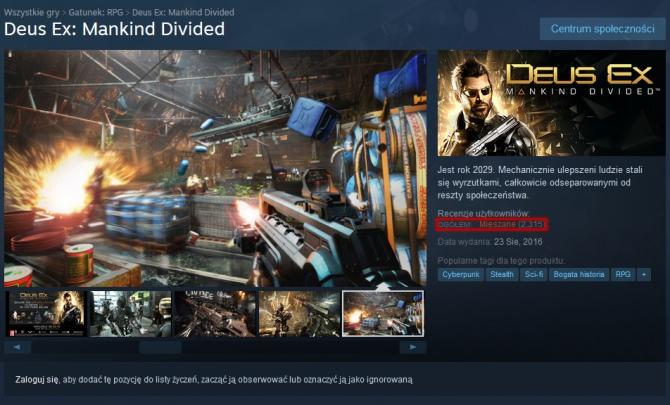 Gracze krytykują Deus Ex: Rozłam Ludzkości - bugi i crashe [1]