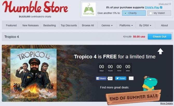 Tropico 4 za darmo w Humble Store, ale tylko dziś do 19.00 [1]