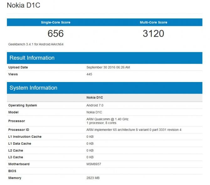 Nokia D1C - pierwsze wyniki wydajności smartfona z Androidem [1]