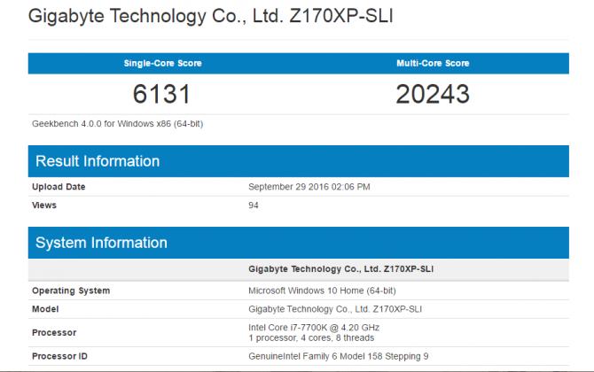 Pierwsze wyniki wydajności procesora Intel Core i7-7700K  [1]