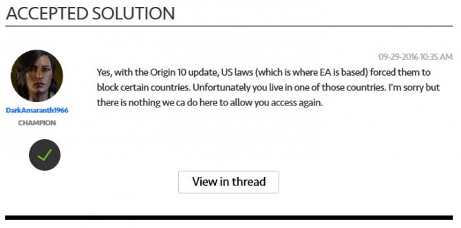 Electronic Arts wykluczyło z platformy Origin cały kraj [2]