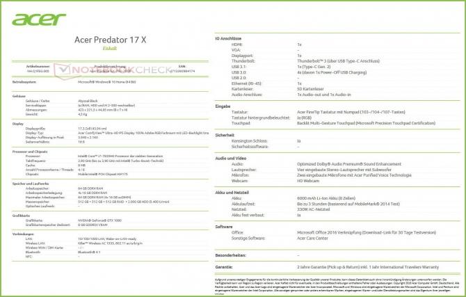 Acer Predator 17X z Intel Core i7-7820HK i GeForce GTX 1080 [6]