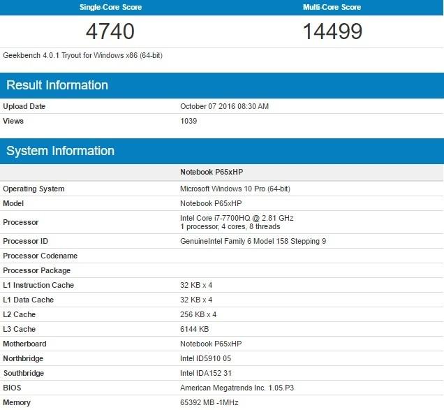 Pierwsze Wyniki Wydajnosci Procesora Intel Core I7 7700HQ