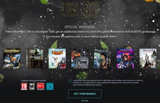 Ubisoft udostępnia wszystkie 7 gier w ramach akcji Ubi 30 [1]