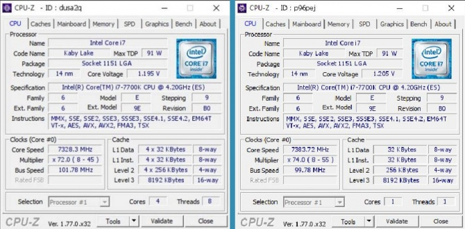 Procesor Intel Core i7-7700k podkręcono do 7383 Mhz [1]
