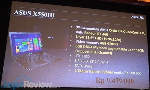 ASUS zapowiada laptopa X550IU z AMD APU oraz Radeonem RX 460 [3]