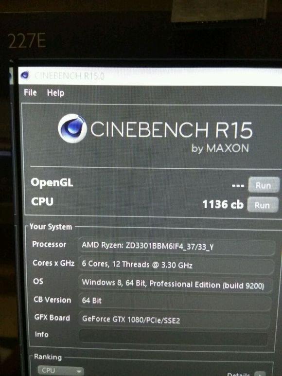 AMD Ryzen 5 1600X Wynik z Cinebench R15 bliskCore i7-6800K  [1]