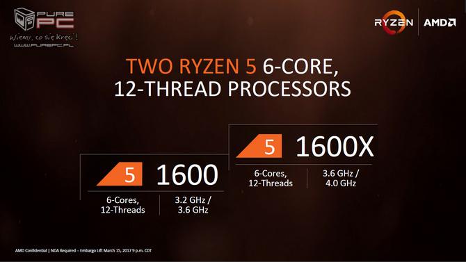 Ceny i data premiery AMD Ryzen 5 1400, 1500X, 1600, 1600X [1]