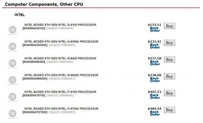 Intel Coffee Lake - kanadyjski sklep ujawnia ceny procesorów [2]