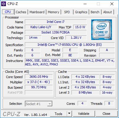Intel Core i7-8550U wydajnościowo na poziomie Core i5-7300HQ [2]