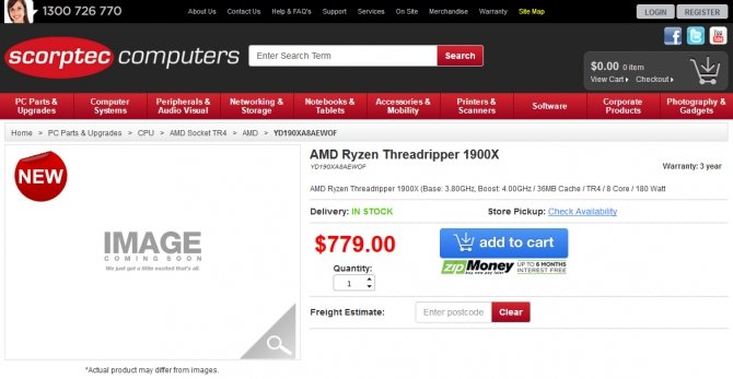 AMD Threadripper 1900X - pierwsze egzemplarze już w sklepach [3]