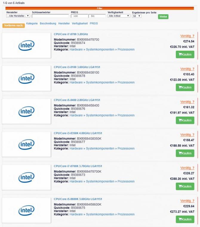Znamy ceny procesorów Intel Coffee Lake - Będzie rewolucja? [3]