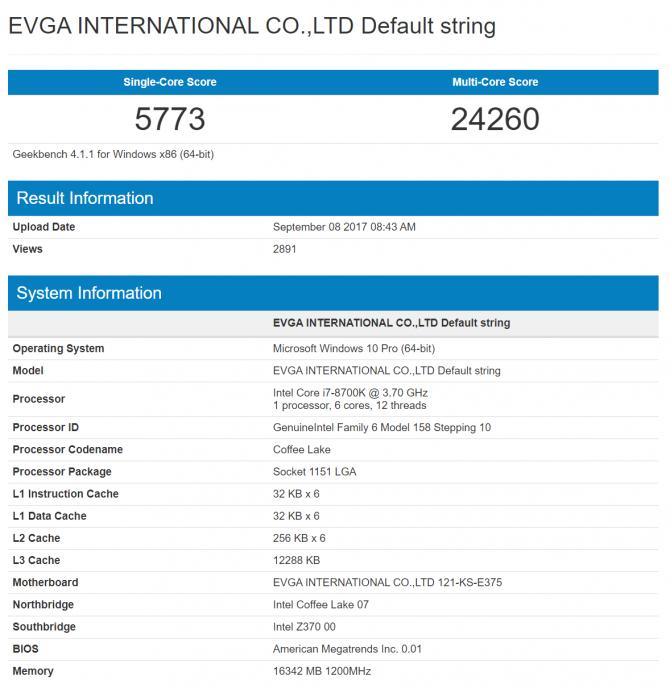 Wyciekły wyniki Intel Core i7-8700K w Cinebench i CPU-Z [2]