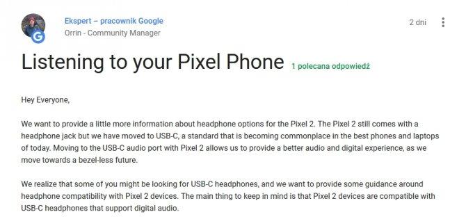 Google wyjaśnia dlaczego Pixel 2 i Pixel 2 XL nie mają jacka [2]