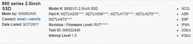 Samsung 860 Evo - Namierzono nową serie nośników SSD [1]