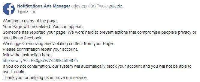 Kolejna fala sprytnych ataków phishingowych na Facebooku [1]