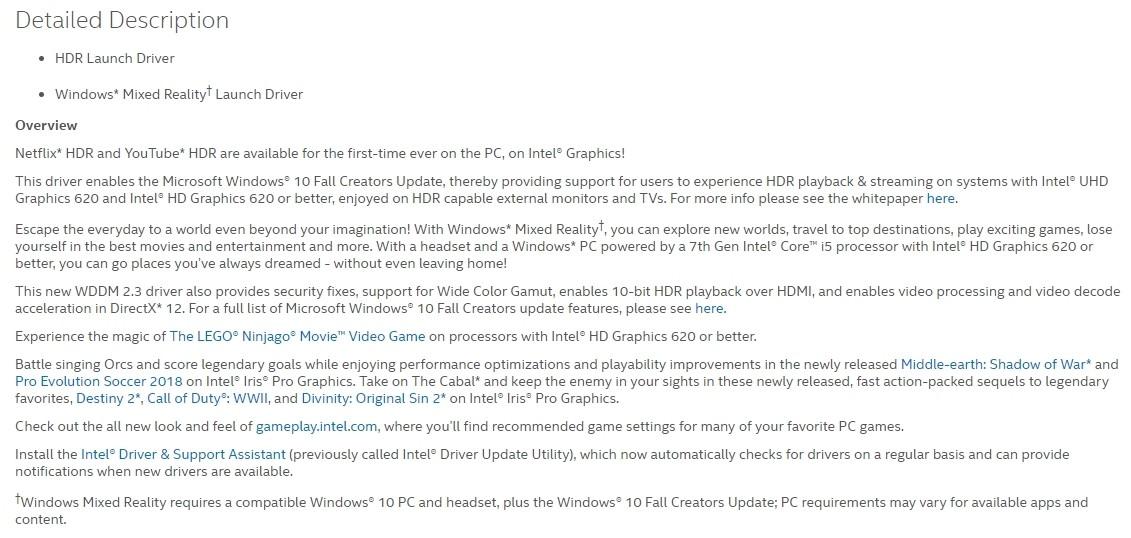 Nowe sterowniki Intela dla iGPU wprowadzają obsługę HDR