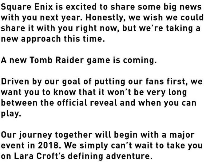 Square Enix oficjalnie potwierdził nową część Tomb Raider [2]