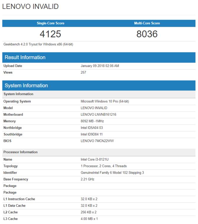 Intel Core i3-8121U - pierwsze wyniki wydajności procesora [2]