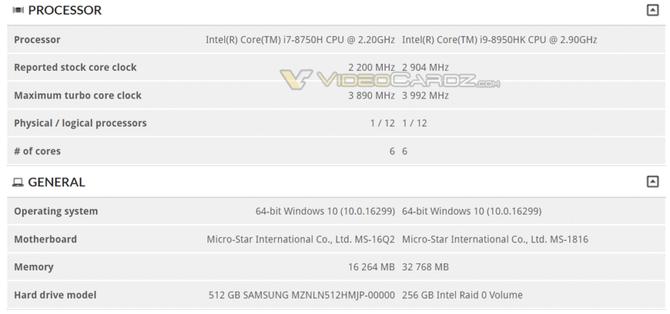 Intel Core i9-8950HK - nowe informacje o mobilnym procesorze [2]
