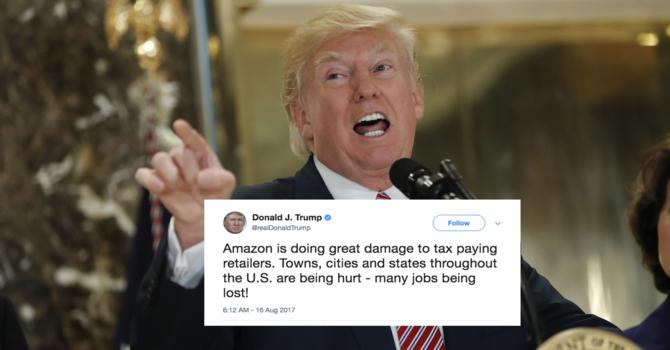 Prezydent USA Donald Trump, otwarcie taranuje Amazon [1]