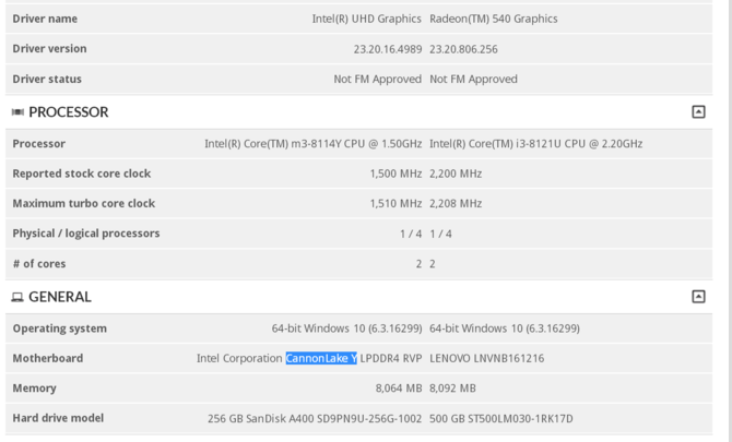 Intel Core m3-8114Y - nowy procesor z serii Cannon Lake-Y [2]