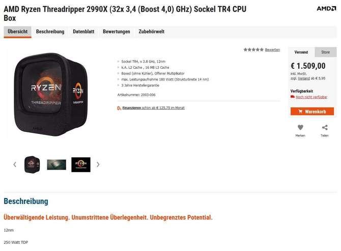 AMD Ryzen Threadripper 2990X został wyceniony na 1500 euro? [1]