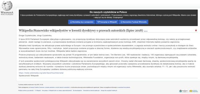 Wikipedia zamknięta. Nie dla dyrektywy UE o prawie autorskim [1]