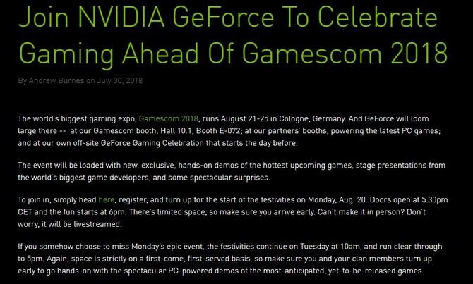 NVIDIA zapowiada wydarzenie GeForce Gaming Celebration [2]