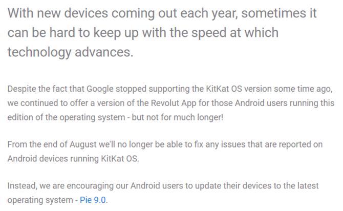 Revolut wkrótce nie będzie już wspierał Androida KitKat 4.4 [2]