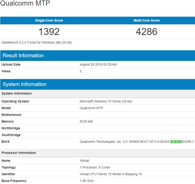 Qualcomm Snapdragon 8180 przetestowany w GeekBench [1]