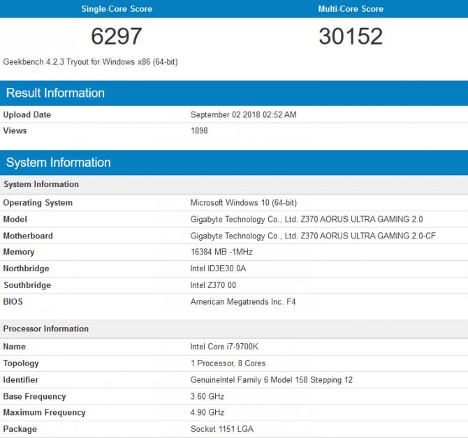 Intel Core i7-9700K - Pojawiły się pierwsze wyniki wydajności [1]