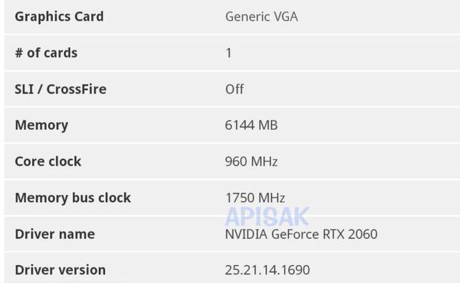 NVIDIA GeForce RTX 2060 Mobile otrzyma 6 GB pamięci GDDR6 [3]