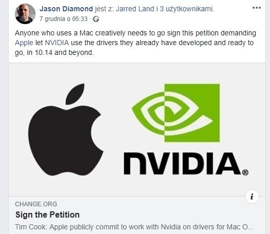 Apple blokuje sterowniki do kart graficznych NVIDIA na Mac OS [1]