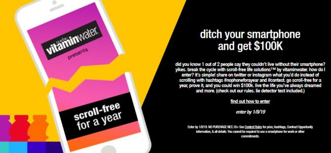 Konkurs firmy Vitaminwater: 100 tys. dolarów za rok bez smartfona [1]