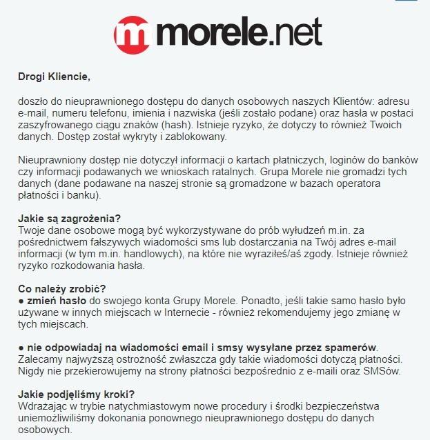 Wyciekły dane osobowe tysięcy klientów sklepu morele.net [2]