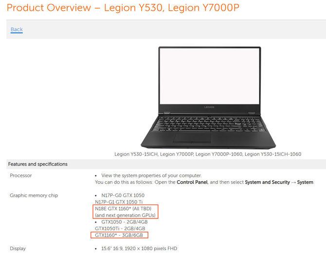 Lenovo potwierdza istnienie karty NVIDIA GeForce GTX 1160 [2]