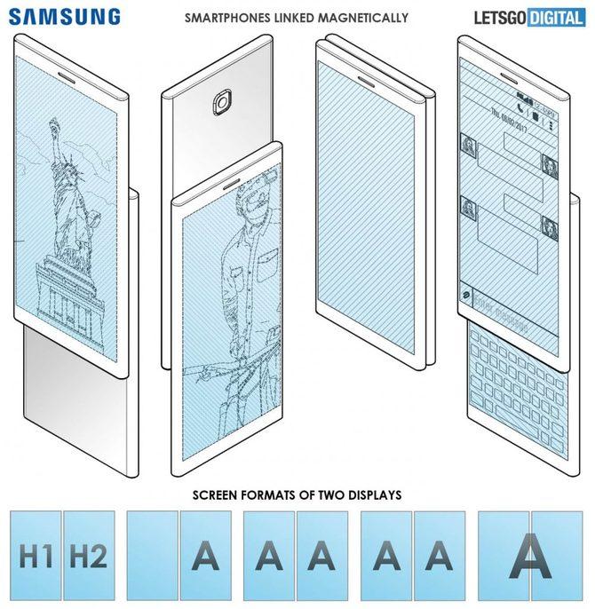 Nowy patent Samsunga: dwa smartfony dzielące jeden wyświetlacz [1]