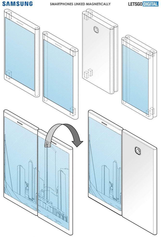 Nowy patent Samsunga: dwa smartfony dzielące jeden wyświetlacz [2]