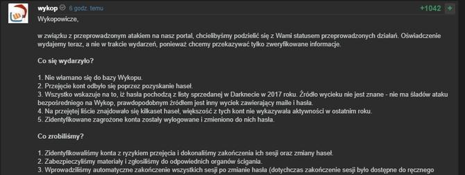 Atak hakerów na Wykop. Serwis zawiadamia organy ścigania [3]