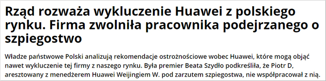 Afera z Huawei przyniesie spadek cen lub zakaz sprzedaży w Polsce [4]