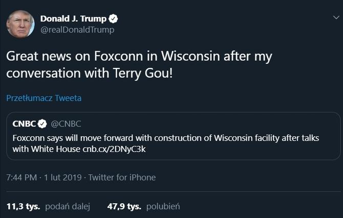 Po interwencji Trumpa Foxconn jednak zbuduje fabrykę w USA [2]